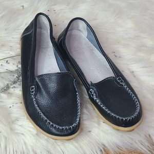 Black leather loafers size 39